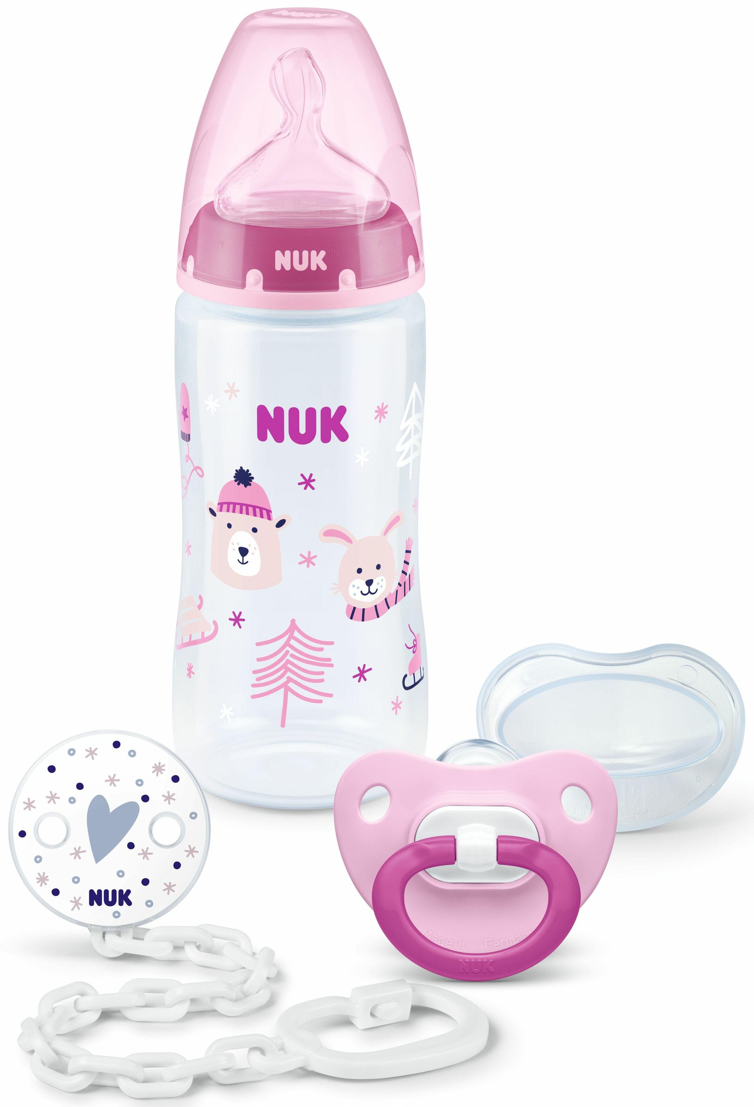 Набор подарочный 3 предмета (бутылка FС+, пустышка, цепочка) ЗИМА розовый