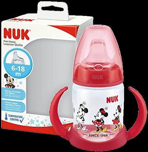 Бутылочка обучающая 150 мл, с сил Mickey Mouse, красная